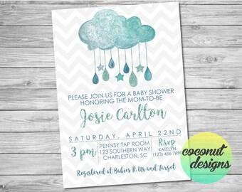 Baby Boy Shower Invitation / Watercolor Cloud Baby Shower Invitation / Baby Sprinkle / Baby Shower Clouds / Digital File