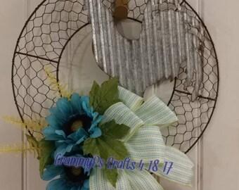 Galvanized Rooster Chicken Wire Wreath #96
