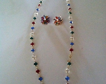 Vintage Muli-colored Monet Crystal Earrings and Necklace