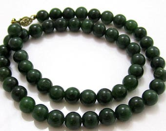 Vintage Gorgeous Dark Green Jade 8Mm Bead Necklace*14K Gold Filled Clasp*270D