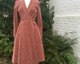 Vintage {Mollie Parnis} Rusted Rose Ultrasuede Long Sleeve Wrap Dress/Coat, Size 8/10