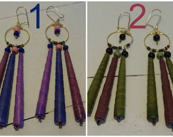 Earrings, large pendants 3 elongated beads to choose from: purple and violet or khaki and burgundy.
