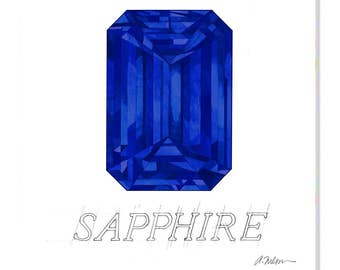 Sapphire Watercolor Rendering printed on Canvas