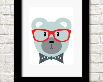 A4 nerdy bear childrens decor print wall art