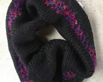 Black Cowl with Recycled Sari Yarn