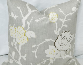 DVF Night Vine Silver-Decorative Throw Pillow Cover Lumbar Cover / 100% Linen Designer Fabric / Both Sided