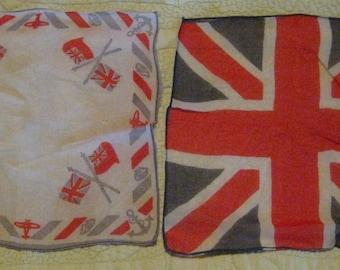 Vintage Antique Union Jack, United Kingdom Souvenir Handkerchiefs, Hankies