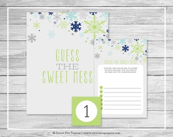 Winter Baby Shower Guess The Mess Game - Printable Baby Shower Guess Sweet Mess Game - Baby It's Cold Outside Baby Shower - SP142