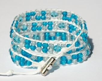 Beaded Wrap Bracelet Blue White Glass Bead Bracelet Nautical Bracelet for her womens gift for Girlfriend gift for women cord wrap bracelet