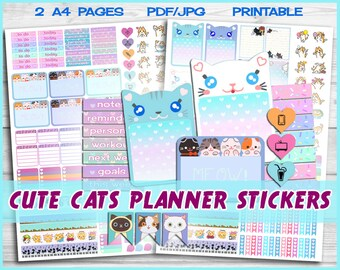 Cat planner, kawaii cat stickers, Blue planner, printable Planner Stickers, Cute planner, cat journal, kawaii stickers, kawaii planner