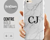 Monogram Marble iPhone 7 case white custom initials samsung Galaxy S8 S6 S7 S5 S4 cover personalised 6s Plus 5C 5S SE case