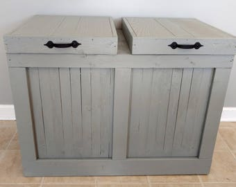 Laundry Room Clothes Hamper- Wood Laundry Basket- Double Trash Can Holder- Laundry Room Storage- Wood Clothes Hamper- Wood Recycling Bin