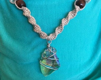Wire wrapped crystal pendant handmade hemp necklace
