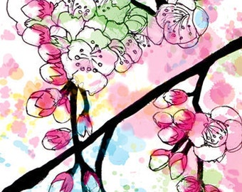 Cherry Blossom Pink Greeting cards, illustration, prints, slightly oriental, flowers,