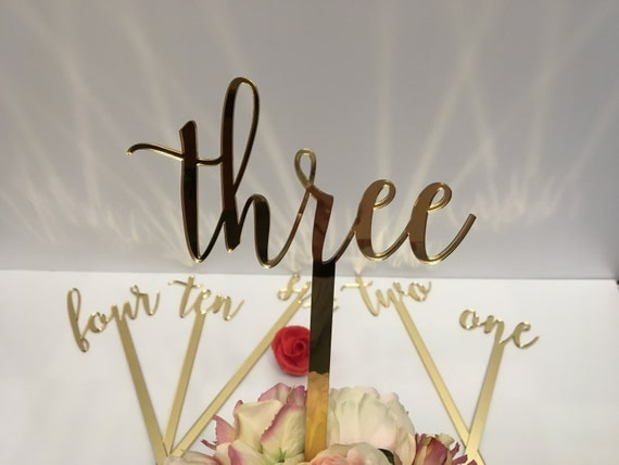 "Large wedding table numbers Script numbers Acrylic table numbers on sticks Flower arrangement numbers Gold mirror table numbers 17"" tall"
