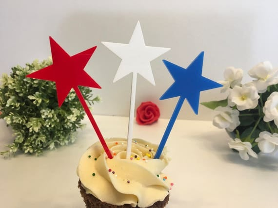 Patriotic Cake Toppers American stick flags 4th of July Red White Blue stars Party Picks Fourth of July Independence Day Star Cupcake Picks