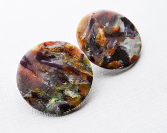 Abstract Multicolour Translucent Polymer Clay Flat Earrings, Studs, Stud Earrings Gifts for Her