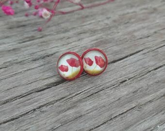 Glass Floral Stud Earrings Red Studs Spring Flower Fashion Jewelry