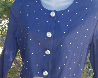 Navy Blue Shrug, Bolero Bling Top, Escar and me, BLING Blouse