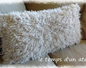 Large rectangular cushion with wool hairy