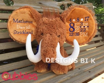 Personalized birth announcement, Stuffed animal, Birth announcement, Personalized Mammoth, Mammoth, Embroidered gift, Baby shower gift