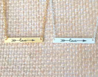 Love arrow bar Necklace small, gold or silver, short dainty delicate love arrow bar necklace