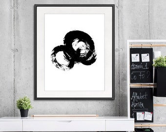 Abstract art, modern art, black brushes painting, contemporary wall art, black white decor -  B15