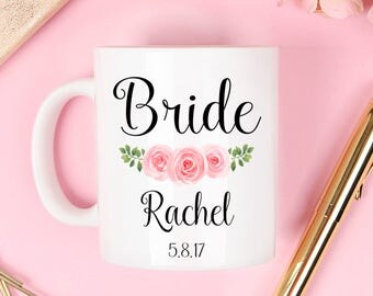 Bride Mug, wedding mug, bridal mug, bride mugs, bridesmaid mug, wedding gift, engagement mug, engagement mug