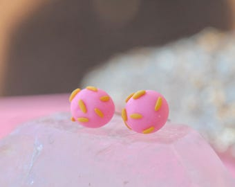Handmade Polymer Clay Earrings | Pink and yellow studs | Cute round earrings