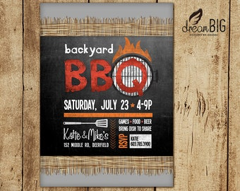 BBQ Summer Party Invitation - Printable - PDF or JPG