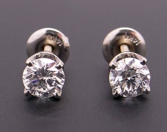 14k White Gold 1ct Round Brilliant Cut Diamond Stud Earrings EGL Certified with Screw Backs