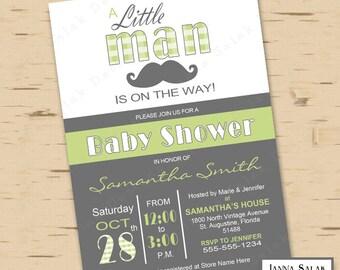 Little Man Baby Shower Invitation Printable Digital Green Grey LM006