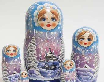 Nesting dolls Russian Winter Night - #92bb