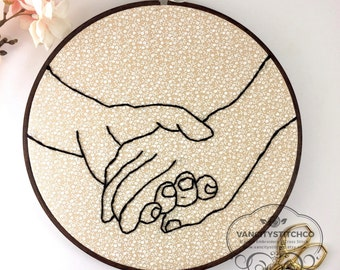 Embroidered Wall Art- Holding hands hoop art, Home decor, Gift for her, Anniversary Gift