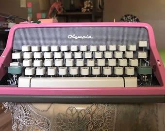 Watermelon Pink Olympia SM7 Typewriter