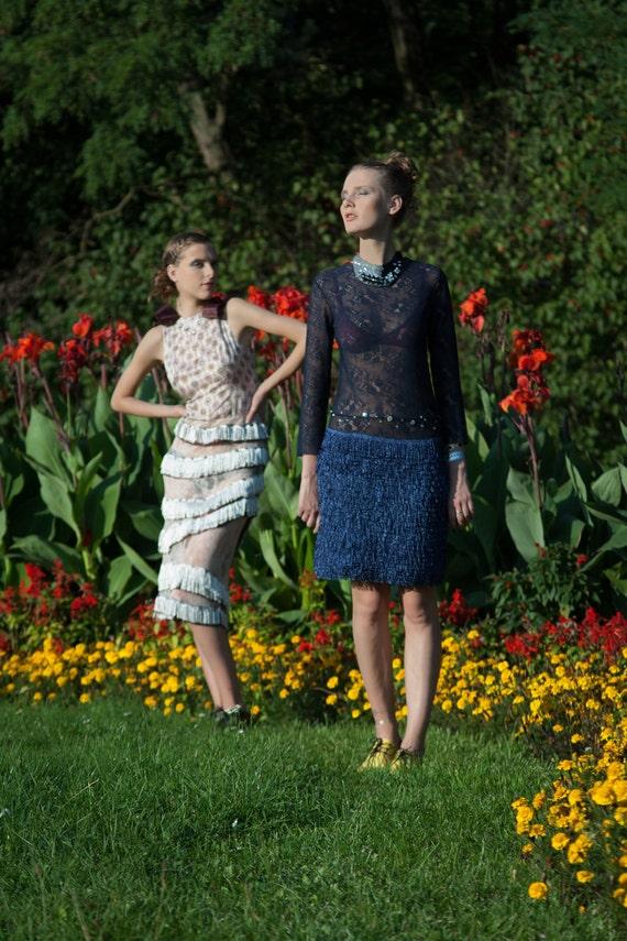 Fringe dress/women dress/evening dress/blue dress/blue lace dress