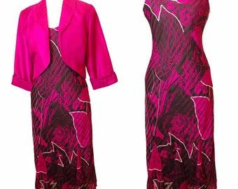 Georgette Print Silk Paneled Dress with Pink Silk Bolero
