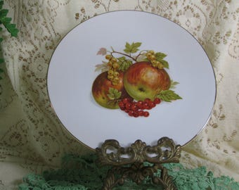 """7 7/8"""" Salad Plate, Bareuther Waldsassen, Bavaria Germany 49 """"Apples & Currents"""" Thin Gold Trim 1950's Porcelain Plate Replacement"""