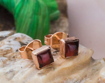 Queenly 14K Rose Gold and Natural Red Garnet Earrings, Rose Gold Square Shaped Studs, 14K Pink Gold Screw Back Earrings,  Zehava Jewelry