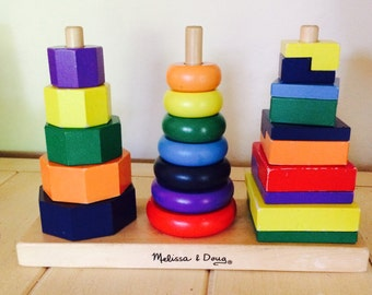 Child Stack Toy, Wooden Pyramid, Wooden Stacking Toy by Melissa and Doug, Child Puzzle, Educational Toy