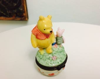 Child Porcelain Trinket Box, Midwest of Cannon Falls, Pooh and Piglet Walking
