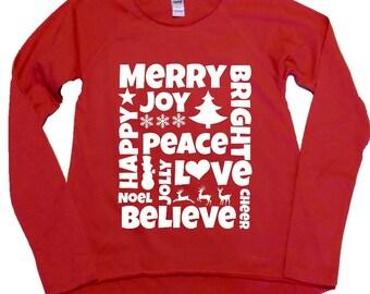 Christmas Subway Words, Girl's Shirt