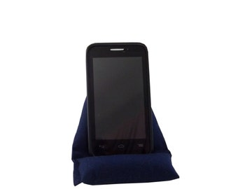 """Cell Phone Cushion, 7"""" X 4 1/2"""" Mobile Phone Holder, Smartphone Stand, Triangle Phone Pillow, Prop for Cell Phone, Dark Blue, Gift for Men"""