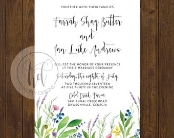 Floral Wedding Invitation, Elegant Wedding Invitation, Custom Wedding Invites, Wedding Invitations Modern, Flower Wedding Invitation