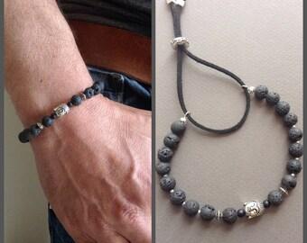 Men's bracelet lava stone and pearl Buddha / adjustable bracelet / adjustable cord bracelet