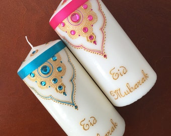 Eid Mubarak, Eid Celebration, Eid Candles, Islamic Gifts, Eid Gift, Ramadan, Islamic Decoration, Eid Party Table Display, Set of 2 Candles