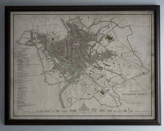 Rome Map: Vintage Map of Rome, Italy - Circa 19th C. - Weathered Map