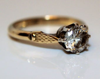 Vintage Yellow Gold Silver LARGE CZ Solitaire ring size 6 1/2 ~ M 1/2