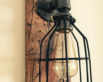 Industrial/Modern/Rustic Wood Handmade Wall Light Fixture/Sconce Lamp/Wall Sconce Lighting with Light Bulb Cage