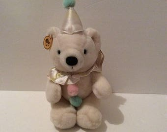 Vintage Russ Caress Soft Pets Marshmallow Clown Bear